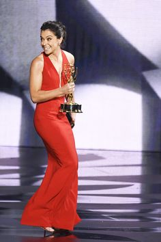 Tatiana Maslany accepts Outstanding Lead Actress in a Drama Series for 'Orphan Black' onstage during the 68th Annual Primetime Emmy Awards at Microsoft Theater on September 18, 2016 in Los Angeles, California.