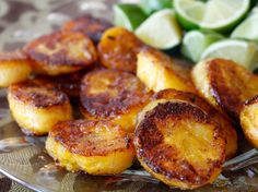 Simple Caramelized Plantains:  1 plantain  2 tablespoons peanut oil 1 teaspoon packed brown sugar 1/4 teaspoon kosher salt 1/8 - 1/4 teaspoon ground chipotle pepper