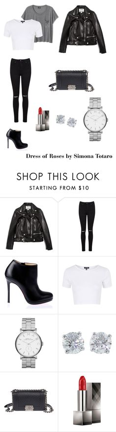 """""""Biker day!! :)"""" by dressofrosesbysimonatotaro ❤ liked on Polyvore featuring Acne Studios, Miss Selfridge, Christian Louboutin, Topshop, Marc by Marc Jacobs, Tiffany & Co., Chanel and Burberry"""