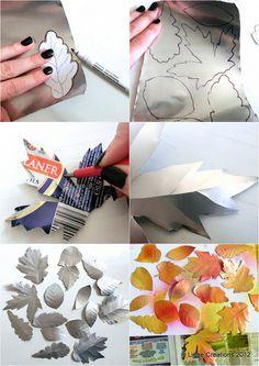 Paso a paso de hojas de otoño a partir de latas de refresco Aluminum Foil Art, Aluminum Can Crafts, Metal Crafts, Recycled Crafts, Metal Projects, Art Projects, Pop Can Crafts, Crafts To Make, Diy Crafts