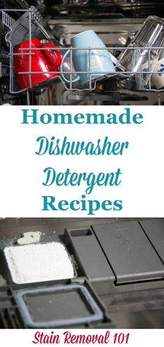 2 homemade dishwasher detergent recipes which contain natural ingredients, including a heavier duty recipe, and one for harder water {on Stain Removal Deep Cleaning Tips, House Cleaning Tips, Spring Cleaning, Green Cleaning, Homemade Cleaning Products, Cleaning Recipes, Cleaning Hacks, Diy Products, Cleaning Solutions