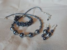 Dark Gray Charcoal Silver Pearl necklace by TheVelvetMannequin
