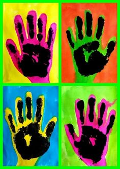 Andy Warhol Pop Art For Kids Projects Ideas Pop Art Pour Les Enfants, Pop Art Andy Warhol, Pop Art For Kids, Hand Art Kids, Hand Kunst, Classe D'art, School Art Projects, Clay Projects, Preschool Projects