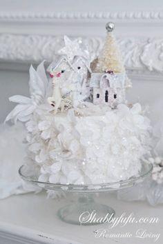 Shabbyfufu White Christmas Reindeer Petal Cake Assemblage