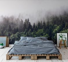 misty forest mural misty gray mountain wallpaper dark green trees in mountain mural bedroom . - misty forest mural misty gray mountain wallpaper dark green trees in mountain mural bedroom decor c - Mountain Wallpaper, Forest Wallpaper, Wall Wallpaper, Wallpaper In Bedroom, Fabric Wallpaper, Adhesive Wallpaper, Wallpaper Ideas, Colorful Wallpaper, Foggy Forest