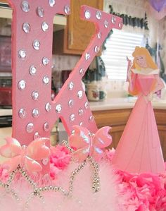 Initial AURORA Party Decoration- CENTERPIECE - Disney Princess Birthday - Girls Birthday - Sleeping Beauty Party - P.S. Kreative Kreations