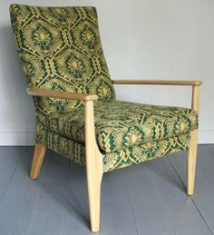 Elegant Parker Knoll fire side chair, model number Recovered in vintage Osborne and Little cuenca green linen fabric. Parker Knoll Chair, Knoll Chairs, Chair Upholstery, Upholstered Chairs, Wingback Chairs, Armchairs, Osborne And Little, Patterned Armchair, Wayfair Living Room Chairs