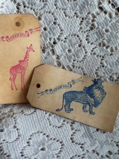 CIRCUS Birthday Party Theme Giraffe Royal King Lion 6 Tea Stained Tags Dream Big Vintage Style Pink Blue Childs Zoo Animals Wedding Favor. $4.20, via Etsy.