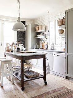 Great idea to have kitchen island on casters. Perfect for a smaller kitchen…