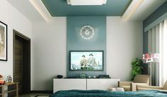 Modern Luxurious Bedroom with Textured Wall: Calm Bedroom With Television And Blue Color ~ CHUCKFERRARO Bedroom Inspiration