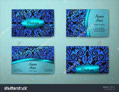 Vector Vintage Visiting Card Set. Floral Mandala Pattern And Ornaments. Oriental Design Layout. Islam, Arabic, Indian, Ottoman Motifs. Front Page And Back Page. - 375384715 : Shutterstock
