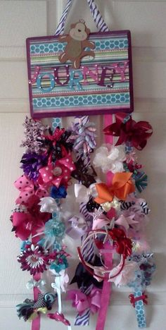 Items similar to Custom Hair Bow Holder -baby bows, hair bow, Kids room decor, on Etsy Diy Hair Bow Organizer, Diy Headband Holder, Hair Accessories Holder, Baby Girl Bows, Gift Bows, Baby Wall Art, Kids Decor, Diy For Kids, Kids Room