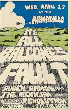 Original concert poster for Balcones Fault at The Armadillo World Headquarters in Austin, Texas in 1977. 11 x 17 inches.  Light handling marks and staple holes.