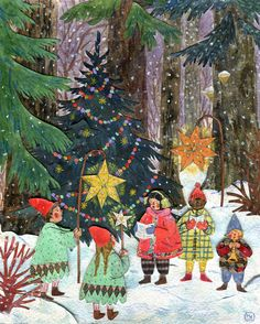 """""""Forest Carols"""" Watercolor, gouache, collage & colored pencil. Phoebe Wahl 2013."""