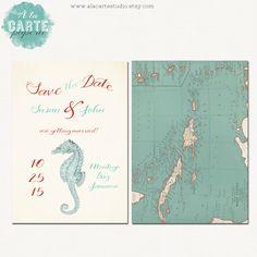 Nautical or Beach Destination Wedding Save the Date Card - Jamaica Wedding - Island Wedding. $15.00, via Etsy.