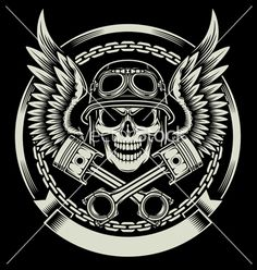 Vintage Biker Skull with Wings and Pistons Emblem on VectorStock