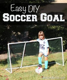 Build this inexpensive soccer goal out of PVC pipe and landscape netting. Easy to build, no real tools required!