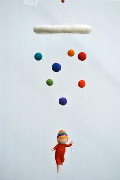 Baby Boy mobile Waldorf inspired needle felted : by MagicWool