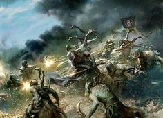 Warhammer 40k Dark Eldar fighting with Imperial guardsmen