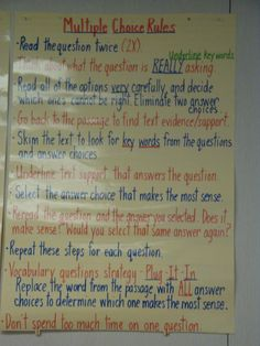 Test taking strategies anchor chart - Multiple Choice Questions. Getting prepped for standardized testing