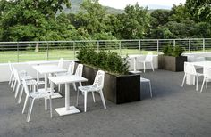 Emu Pattern chairs and Emu Round tables from Coalesse