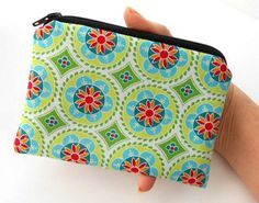 Padded Little Zipper Pouch Coin Purse ECO Friendly Green Madhuri Medallions NEW by JPATPURSES, $8.00