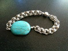 Chinese Turquoise and Silver Bracelet by ChainMailleBeauty on Etsy, $27.00