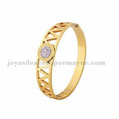 pulsera con cristal de dorado en acero inoxidable para mujer- SSBTG924155