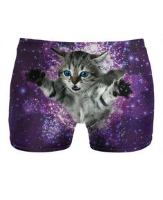 These Kitty Glitter Underwear feature a fuzzy a little fella exploring the cat world's final frontier: Space! These adorably, wacky all-over print kitten undies