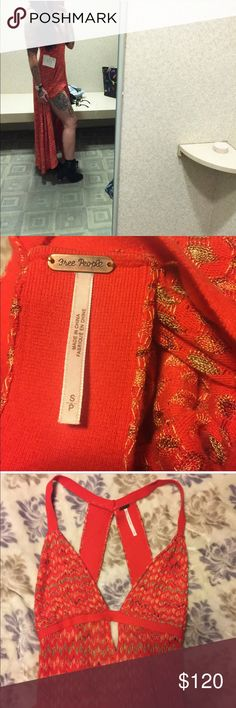 Free People Sexy Orange Knit Dress-In EUC Worn once for about 40 minutes. In EUC (it's basically brand new). I am 5'9 for reference. Deep v-in the front. Size small. Fitted maxi with a slit near the front, but it can moved to the left side as shown in the first photo. Truly a stunning dress-I just don't think orange is my color. Sold out online and in stores. No swaps 🚫 Offers👍🏻 Free People Dresses Maxi
