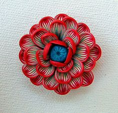 Flower Pendant hand-sculpted polymer clay Red Turquoise by ZudaGay