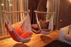 Beautiful indoor hammocks that will liven up any room, creating an enchanting feeling.  Image (via Etsy)