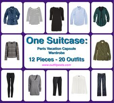 Not that I'm going to Paris, but a great way to unify your wardrobe. Outfit Posts: one suitcase: paris vacation capsule wardrobe Travel Packing Outfits, Travel Capsule, Travel Wardrobe, Capsule Wardrobe, Packing Tips, Wardrobe Ideas, Vacation Wardrobe, Packing Checklist, Amalfi