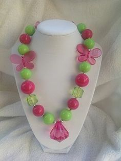 Rasberry and Green Butterfly Chunky Necklace