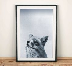 This is a downloadable print! Blue and white Fox photography, with texture pattern through.  Simple & Easy: Download, Print! Instant Download: when