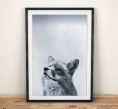 Fox Print, Wall Ideas, Woodlands Decor, Wilderness Fox Wall Art, Black and White Animal Print, Printable Art, wall decoration