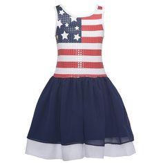 Bonnie Jean Girls Sequin American Flag Red White Blue Patriotic Sun Dress Girl racerback dress #4thofjuly #racerbackdress #racerback