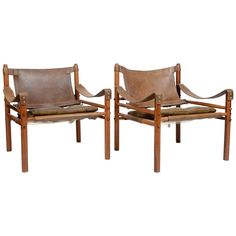 "Pair of ""Sirocco"" Safari Chairs Designed by Arne Norell, Sweden, 1960s"