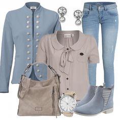 Süßes Freizeitoutfit aus Naketano Schluppenbluse, Blazer und heller Jeans von ONLY... #damenkleidung #damenoutfit #frauenoutfit #inspiration #fashion #bluse #schleife #tasche #heine #uhr #stiefeletten