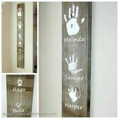 Wooden plank handprint keepsake decoration