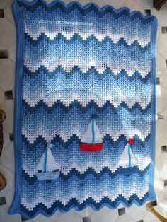 Boat Blanket/Afghan - Crochet granny ripple with added boats for good measure.