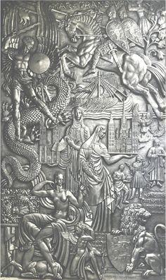 Bas-relief pour le paquebot Normandie (1935) Raymond Delamarre. Plâtre doré à la feuille (6 x 3,6 mètres).