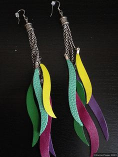 Leather Earrings in Purple, Magenta, Shades of Green, and Neon Green with Antique Silver Chain and Kumihimo End Caps on Etsy, $32.00