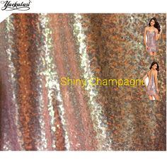 YACKALASI Rose Gold Sequined Lace Fabrics Pink Gold Champagne 3mm sequin 132CM Wide #Affiliate