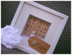 32 Ideas Scrabble Wall Art Diy Gift Ideas For 2019 Scrabble Letter Crafts, Scrabble Tile Crafts, Scrabble Letters, Cute Crafts, Crafts To Do, Craft Gifts, Diy Gifts, Box Frame Art, Box Frames