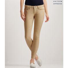 Aeropostale Sateen Jeggings (€20) ❤ liked on Polyvore featuring pants, leggings, khaki leggings, khaki trousers, sateen pants, zip leggings and khaki pants