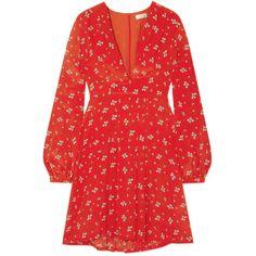 RIXO London Harper floral-print silk mini dress (1.220 BRL) ❤ liked on Polyvore featuring dresses, rixo london, silk dress, red floral dress, flower printed dress, floral print dress and silk floral dress