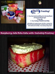 Raspberry Poke Cake with Coolwhip Frosting