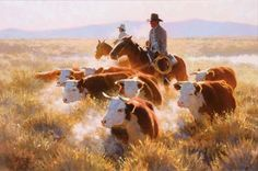 Dan Mieduch, Driving the Herd, Oil on Canvas, 1986 #AnimalInstincts #AmericanArt