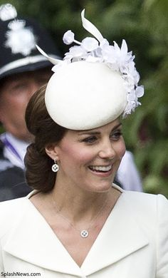 Duchess Catherine at Princess Charlotte's christening 5/7/15 in a Jane Taylor hat